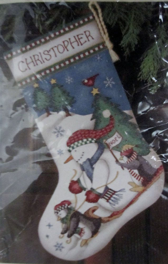 Dimensions Christmas Stocking Kits.Sledding Pals Stocking 16 Stamped Cross Stitch Kit 8715