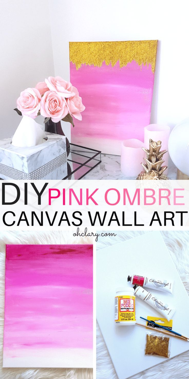 Diy pink ombre wall art with gold glitter pink wall art diy wall