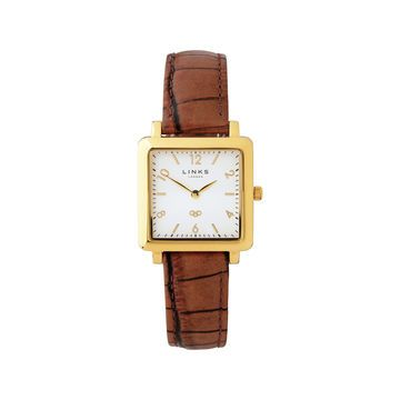 Noble Slim Square Brown Leather Watch from Links of London | Watches for Women