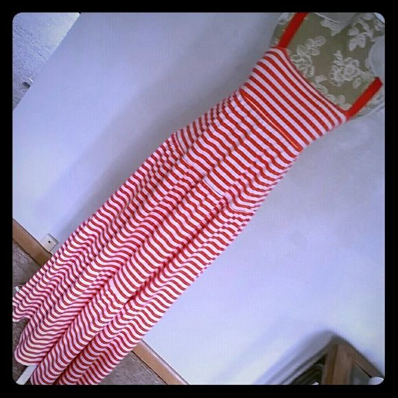 Maxi Dress Coral & white striped with thick ribbon straps. Empire waistline with 3 tiers for additional fullness and flow. Very summery and cute! Old Navy Dresses Maxi