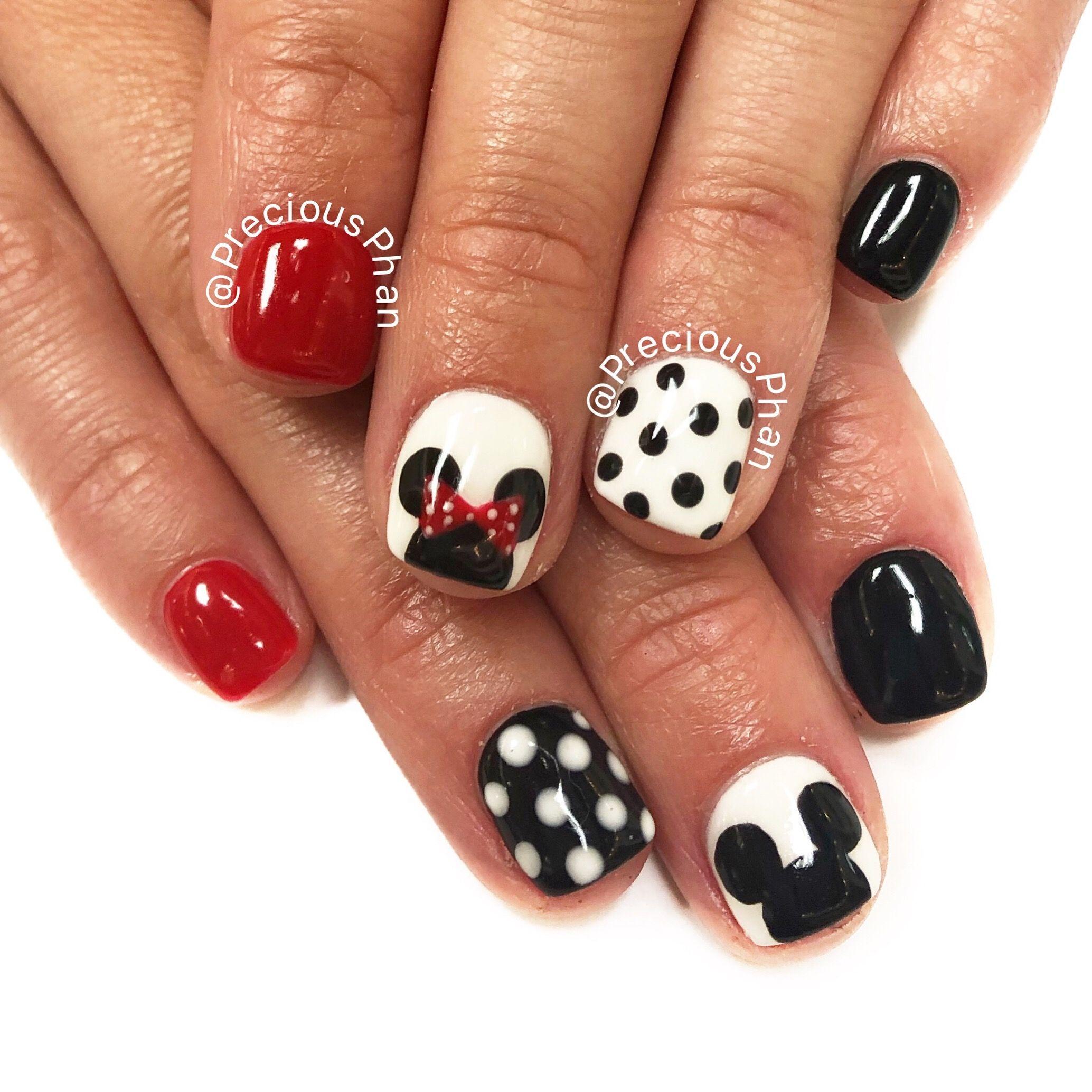 Disney Nails Mickey Mouse Minnie Mouse Nails Red White And Black Nails Polka Dots Preciousphan Minnie Mouse Nails Mickey Nails Mickey Mouse Nails
