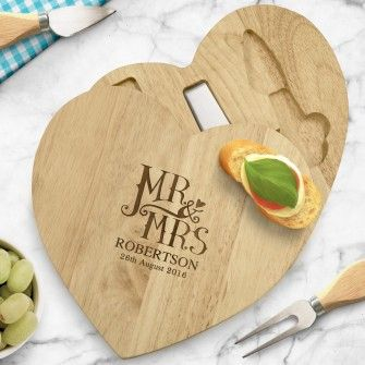 Engraved Dotty Mr and Mrs Wooden Heart Cheeseboard Set