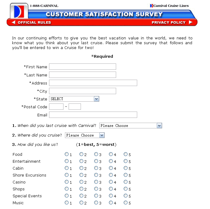 Carnival Cruise Lines Customer Satisfaction Survey, www.newlinks ...
