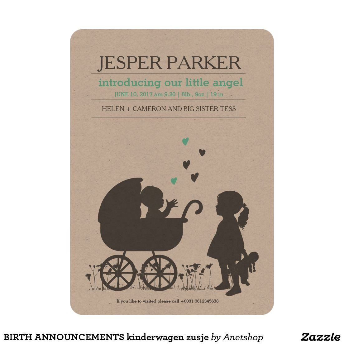 BIRTH ANNOUNCEMENTS kinderwagen zusje