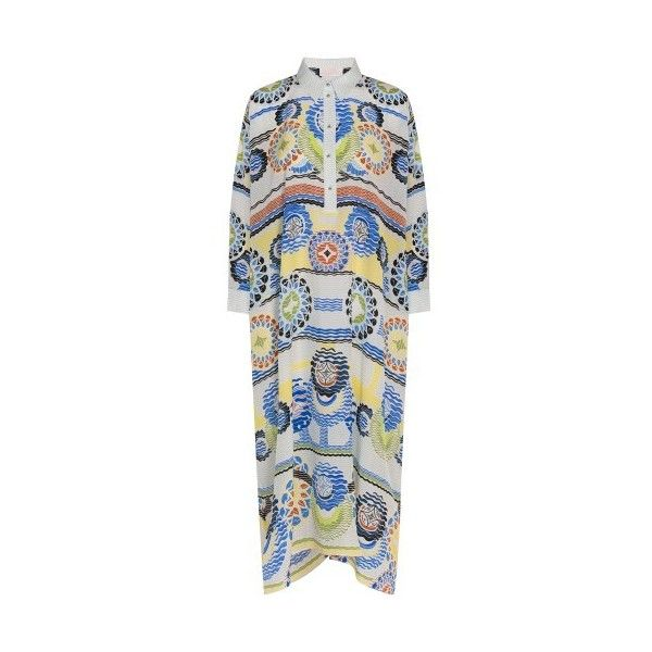Peter Pilotto Print Collared Kaftan ($1,326) ❤ liked on Polyvore featuring tops, tunics, peter pilotto tops, silk kaftan, kaftan tunic, print top and silk top
