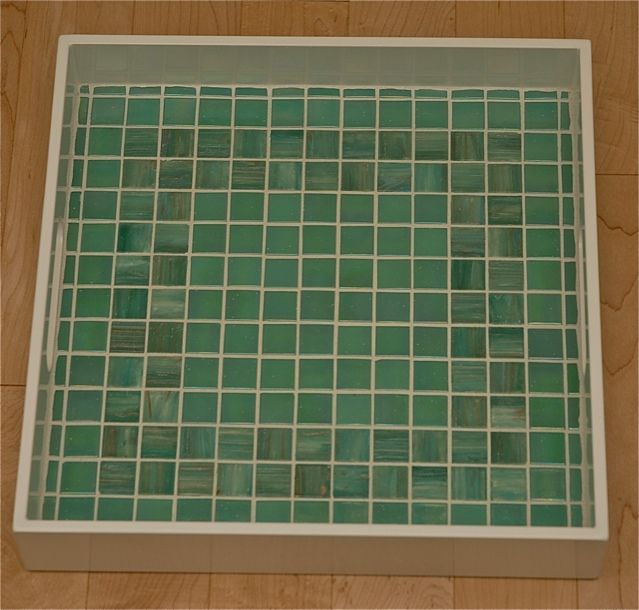 Square tray with green mosaic tile