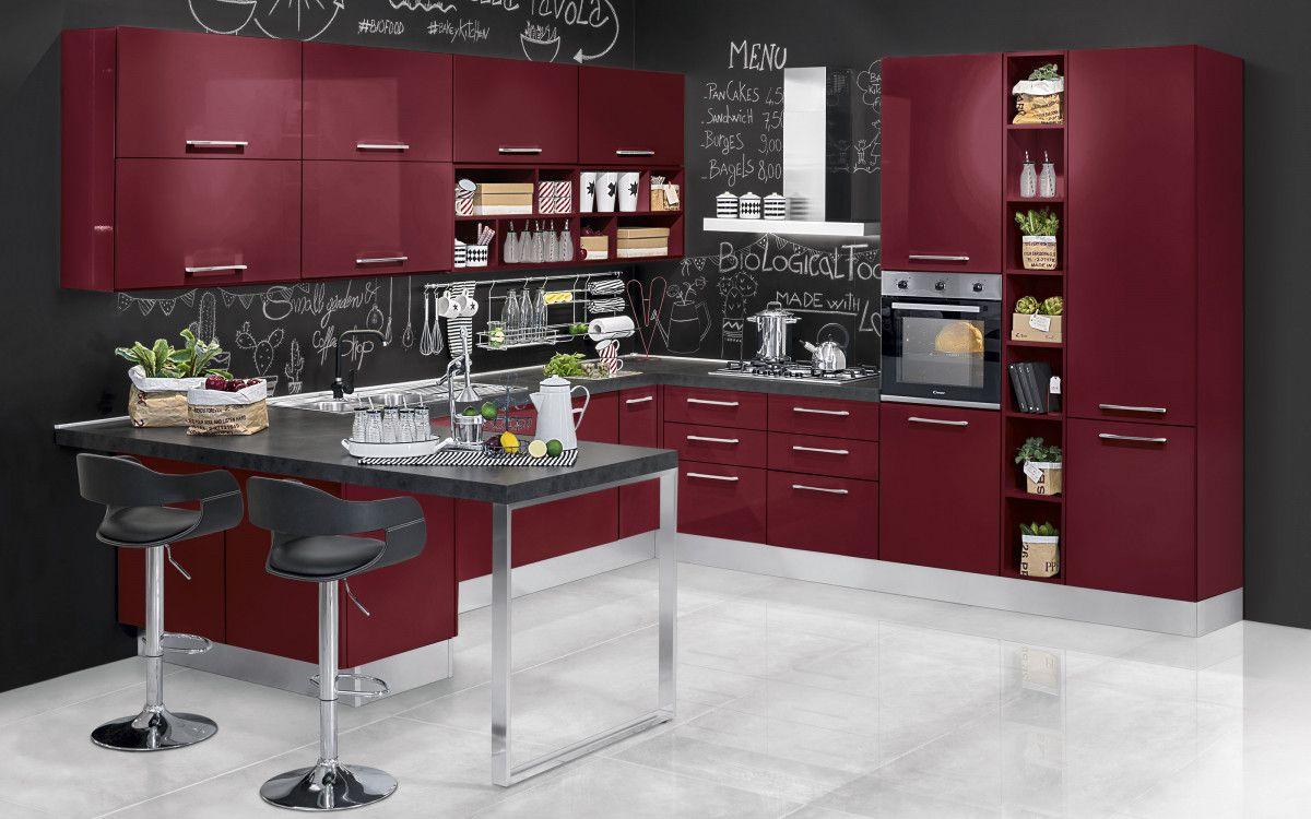 Cucina componibile bianco petrolio lucido katy n n кухня