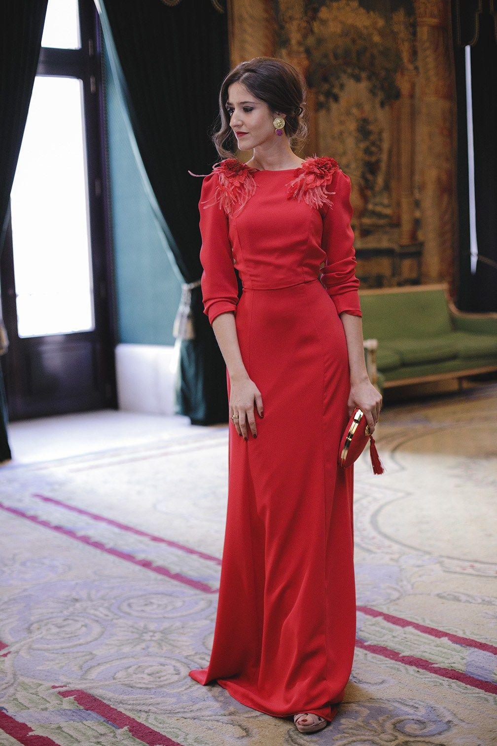 21b38387f90 Look invitada boda noche vestido rojo largo espalda | vestidos en ...
