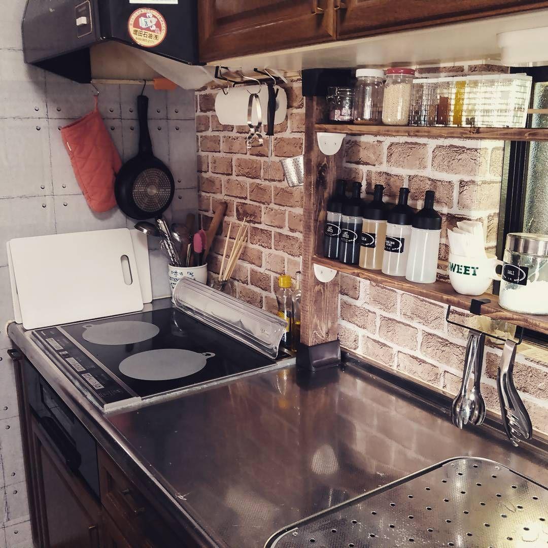 小さなキッチンでもおしゃれに 調味料棚 の作り方 キッチンインテリアデザイン 小さなキッチン インテリア 収納