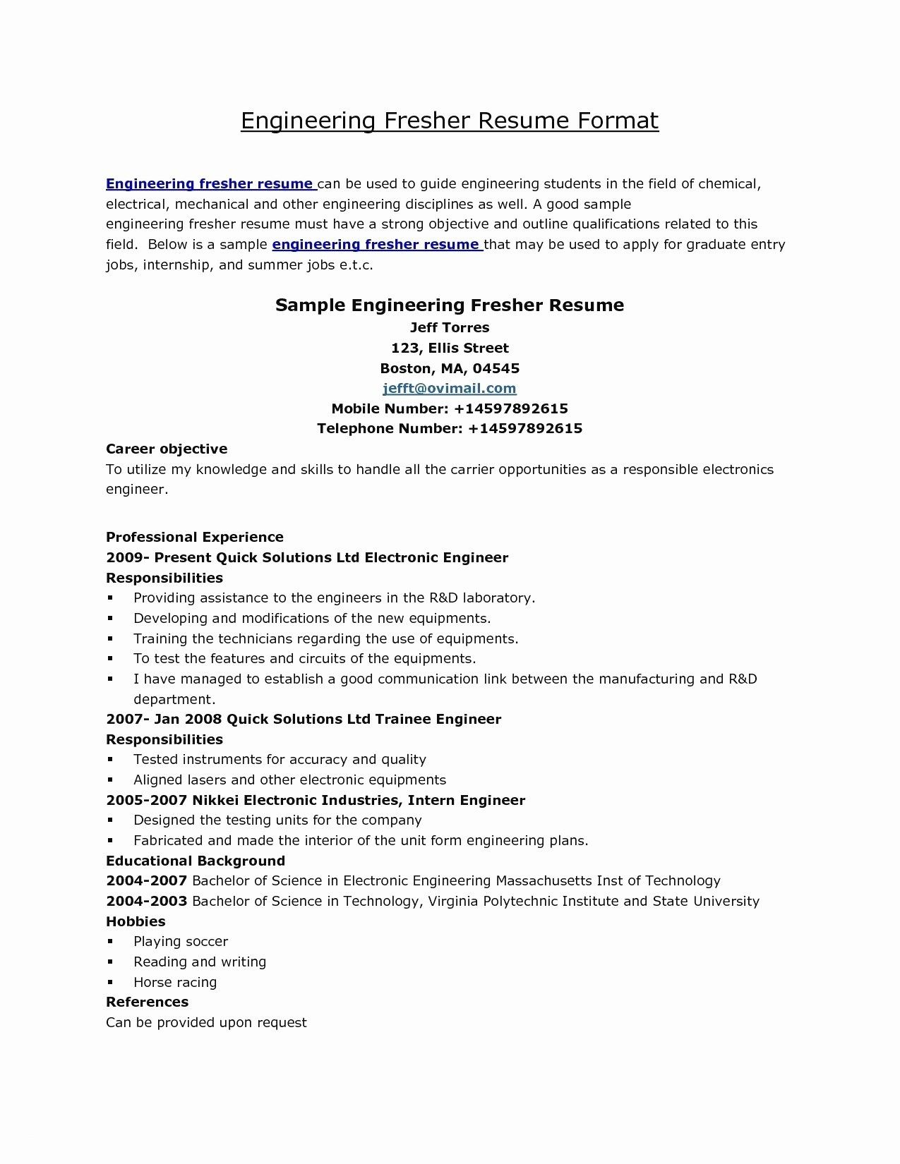 70 Elegant Collection Of Power Engineering Resume Examples