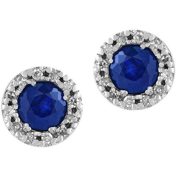Effy Royale Bleu 0 12TCW Diamonds and Sapphire 14K White Gold Stud