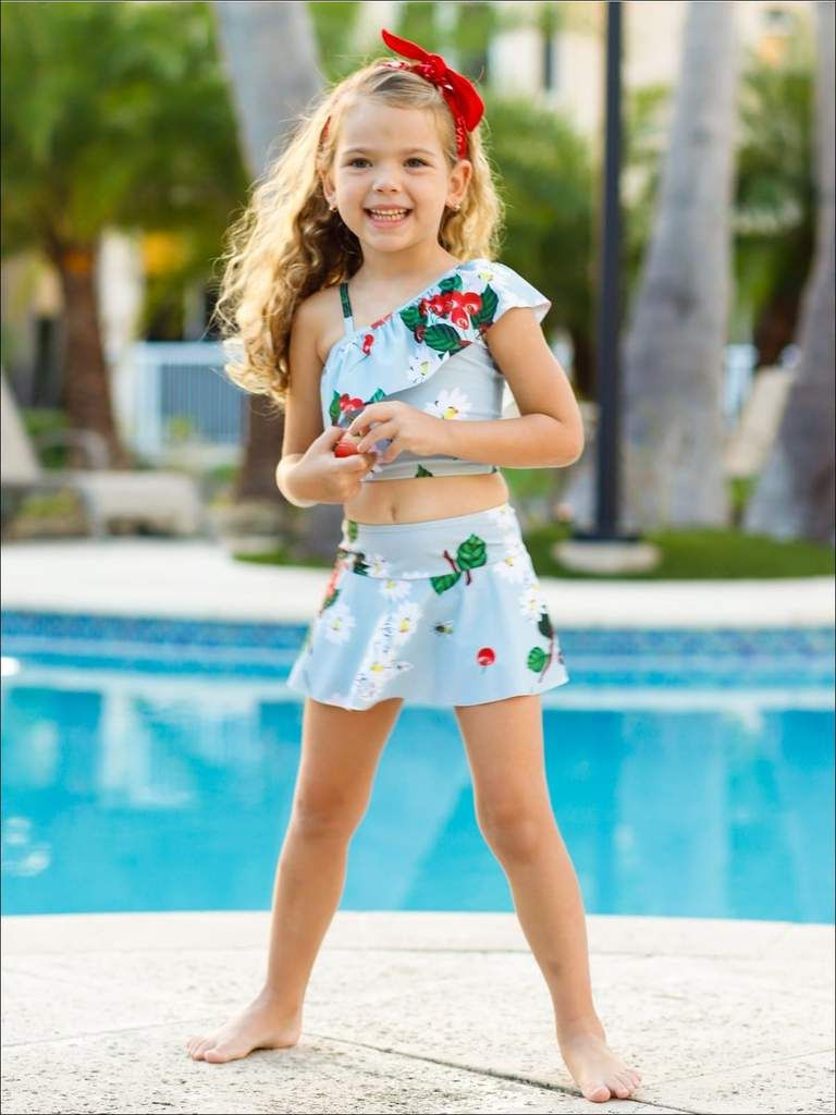 087d9f90c Shop the Girls blue floral one shoulder ruffle top & skirted bottom two-piece  swimsuit