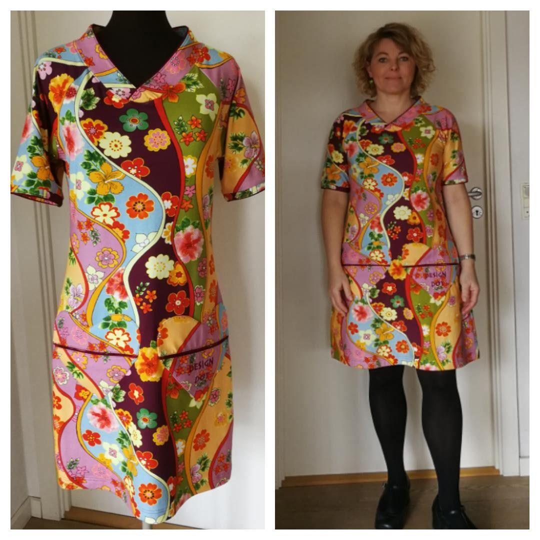 2018 Jersey Kjole Med Digital Print I Retro Design Med Hjerte Lommer Short Sleeve Dresses Fashion Dresses