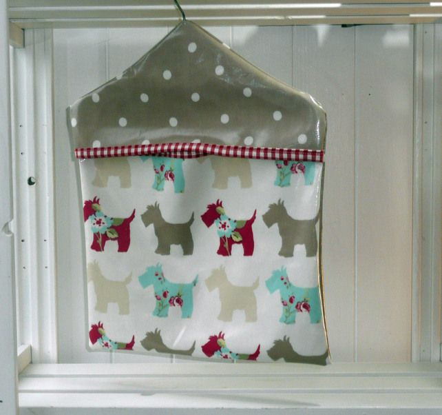 Spotty Scotty PVC Oilcloth Type fabric Peg Bag £11.00 | Sewing ...