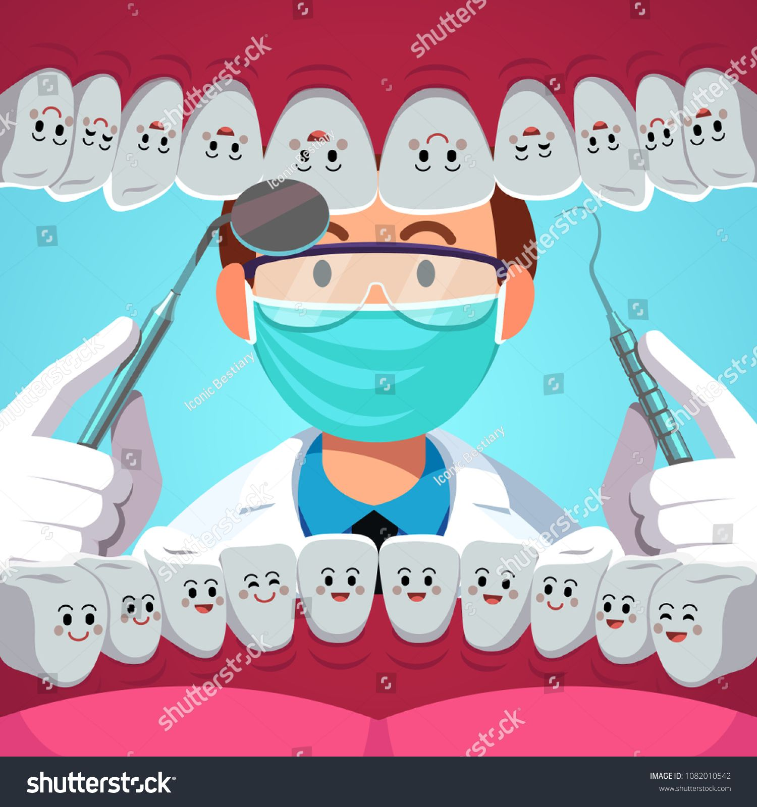 Dentist holding instruments examining teeth. Patient mouth