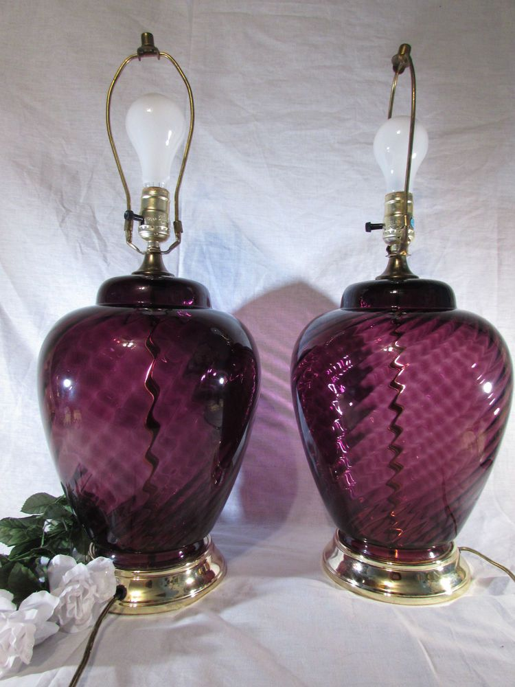 Exquisite Vintage Pair Amethyst Swirl Glass Globe Table Lamps W 3 Way Switch Milk Glass Lamp Glass Lamp Lamp