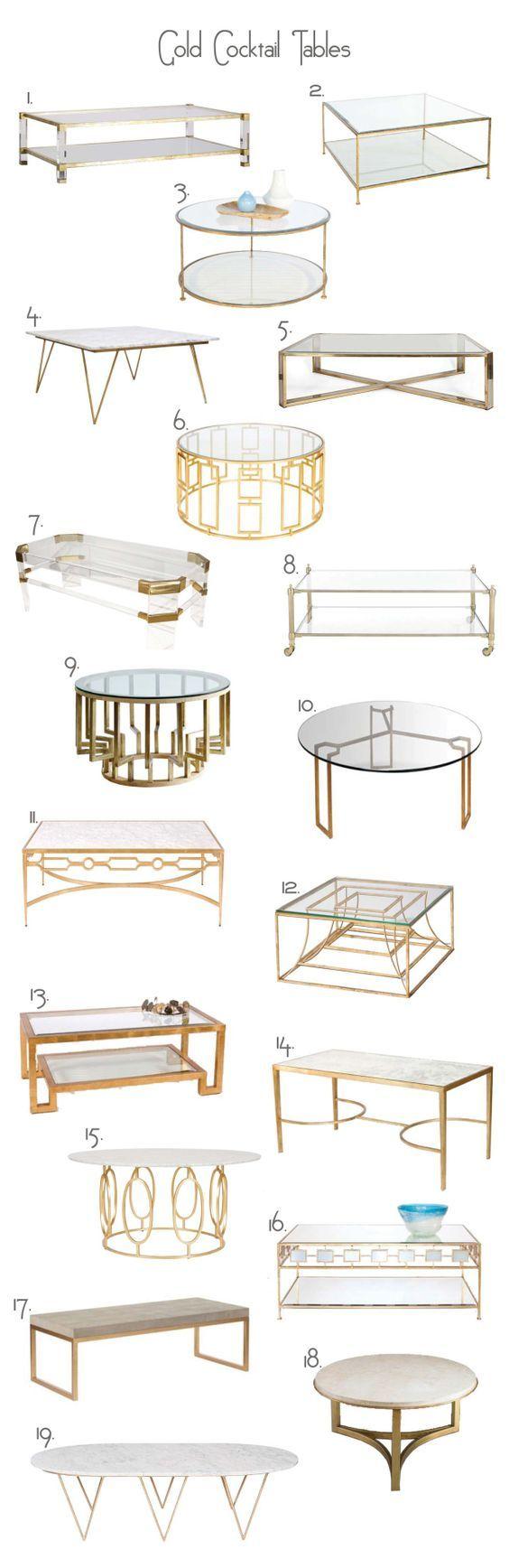 GOLD COCKTAIL TABLES  SEVENTY FIVE ARLINGTON