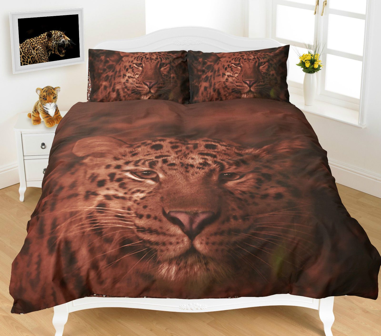 Darcy Floral Duvet Quilt Cover Double King Brown Black Bedding Set