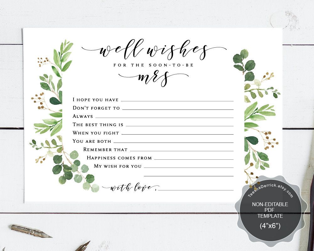 Well Wishes For The Soon To Be Mrs Card Template Instant Download Printable Pdf Marriage Advice Card Greenery Groom Card Newlywed Card Wishes For The Bride