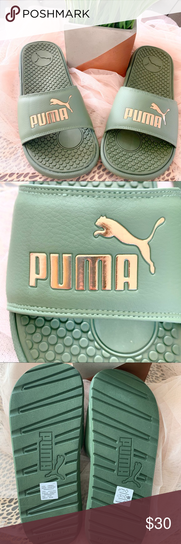 8de06adf0ca4 PUMA slides olive green rose gold faux leather Brand new never worn Faux  leather