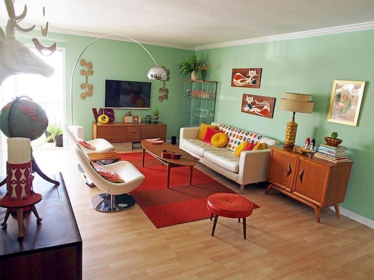55 Mid Century Modern Living Room Furniture Ideas Vintage Inspired Room Retro Living Rooms Retro Apartment