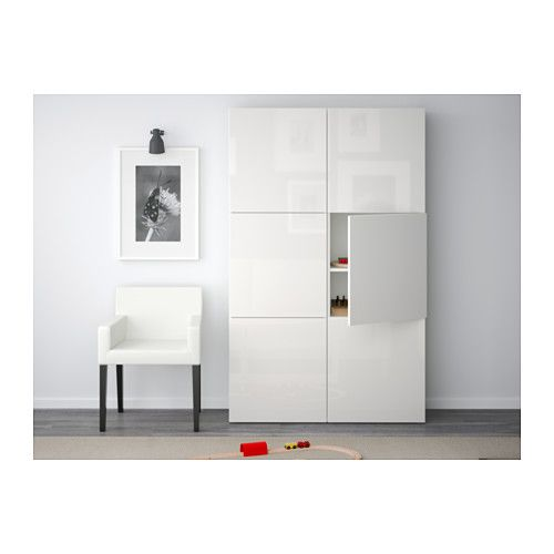 Besta Storage Combination With Doors White Selsviken High Gloss