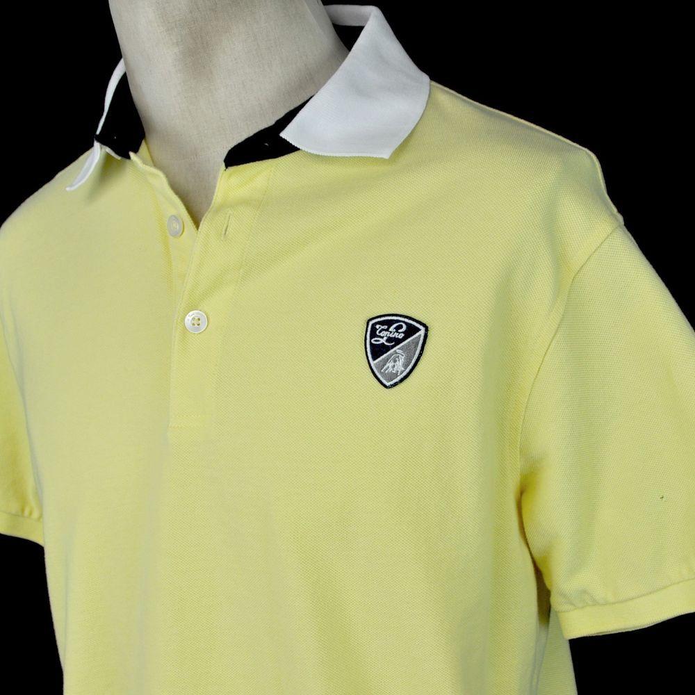 c29d61c8 Tonino Lamborghini Bull Crest Medium Mens Yellow Knit Polo Shirt  #TotinoLamborghini #PoloRugby