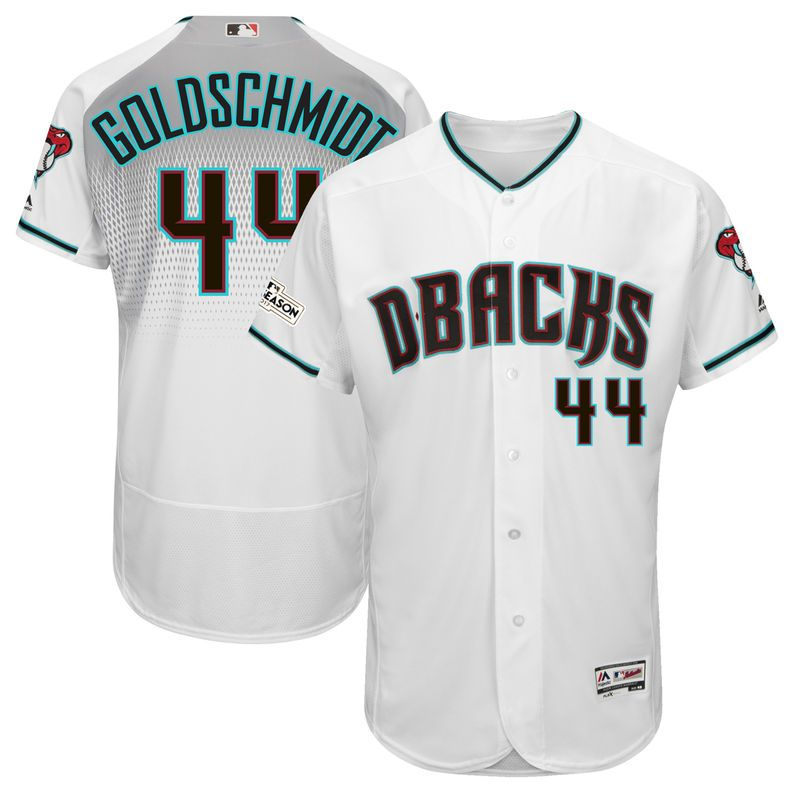 b209eea7f Paul Goldschmidt Arizona Diamondbacks Majestic 2017 Postseason Patch Flex  Base Player Jersey – White Teal