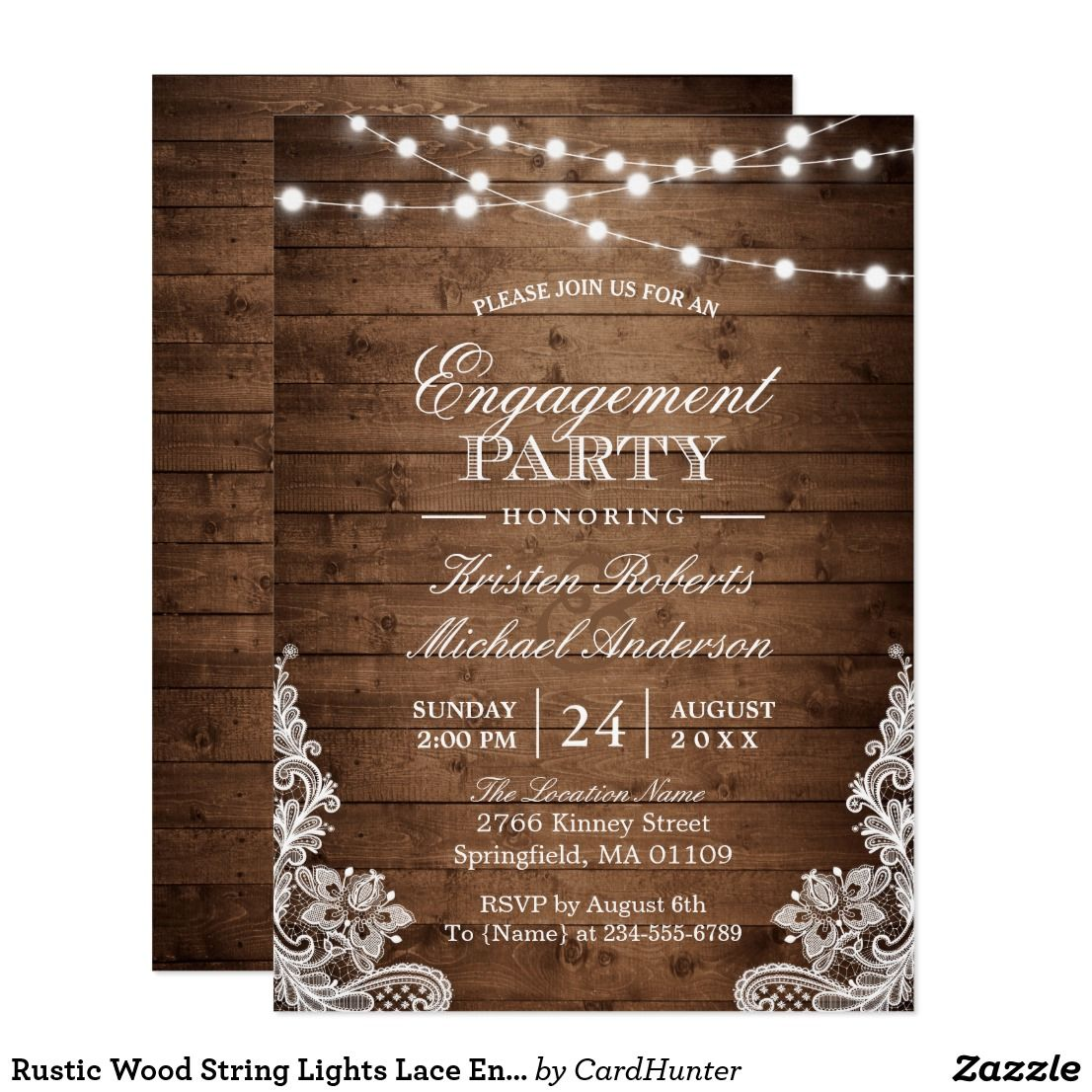 ENGAGEMENT INVITATION RUSTIC WOOD LIGHTS WEDDING INVITE PARTY INVITATIONS