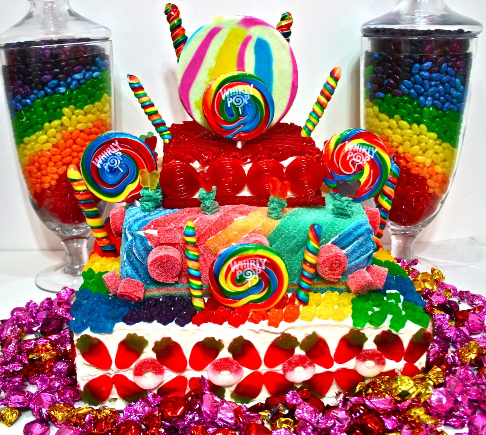 Colorful candy cakes land crazy
