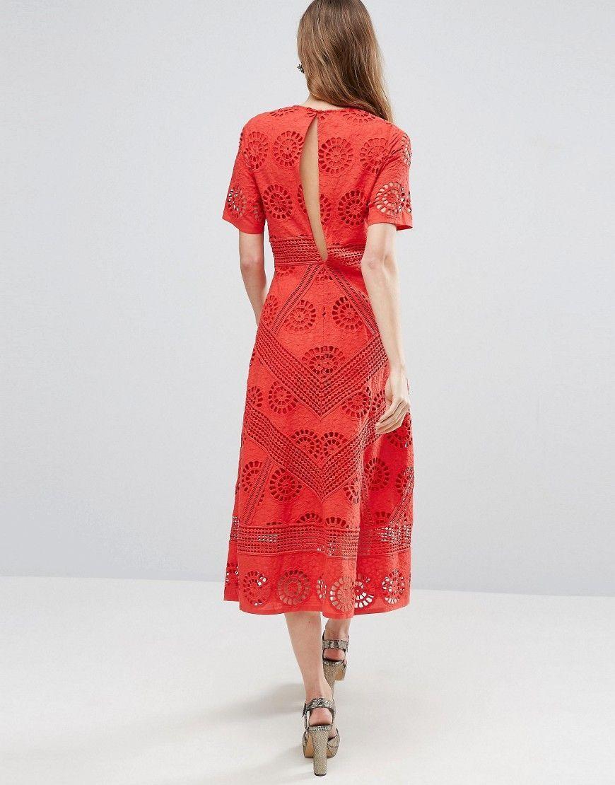 2efba82dae3 ASOS PREMIUM Midi Dress in Broderie Fabric - Red