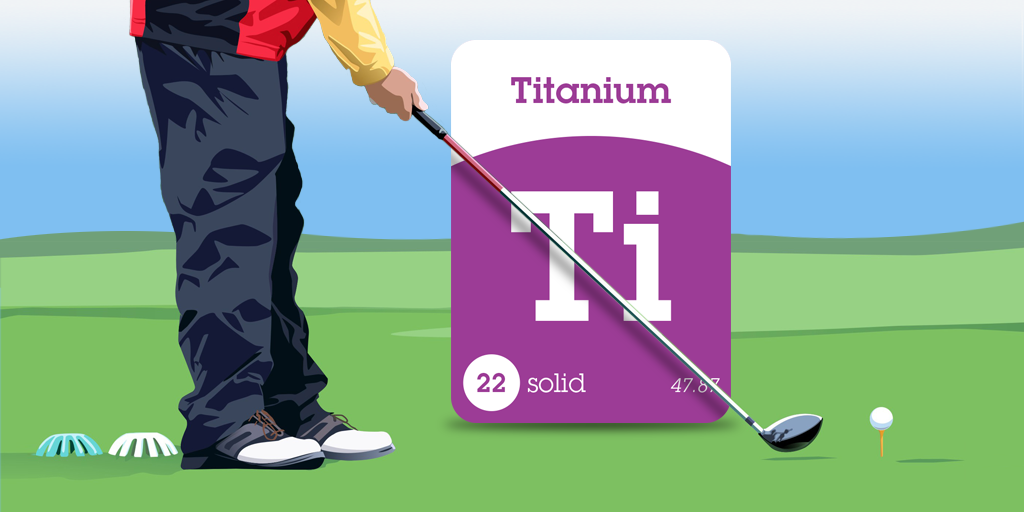 Titanium is primarily used for golf drivers. Titanium is lighter, stronger & more elastic than most other metals. ~ SuperFlash Elements for iPad! https://itunes.apple.com/us/app/superflash-elements-periodic/id931215207?mt=8