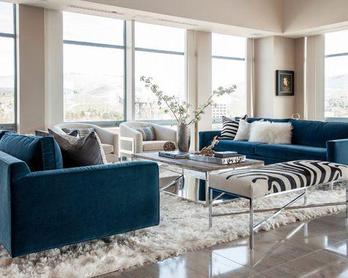 Room Nice Dark Blue Sofa
