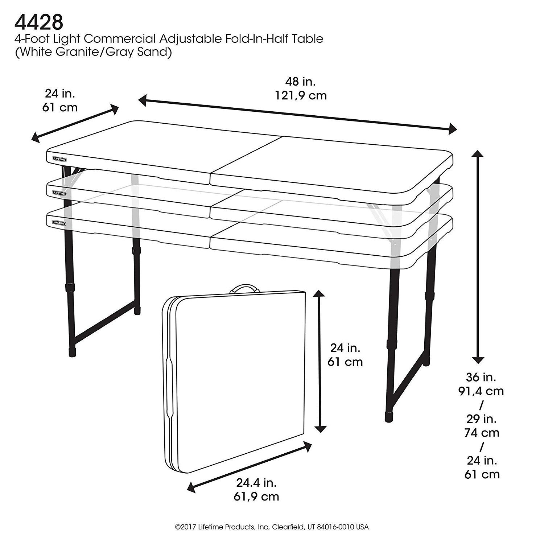 Jardin Lifetime Table pliante Blanc Granite 122 x 61 x 91 cm ...