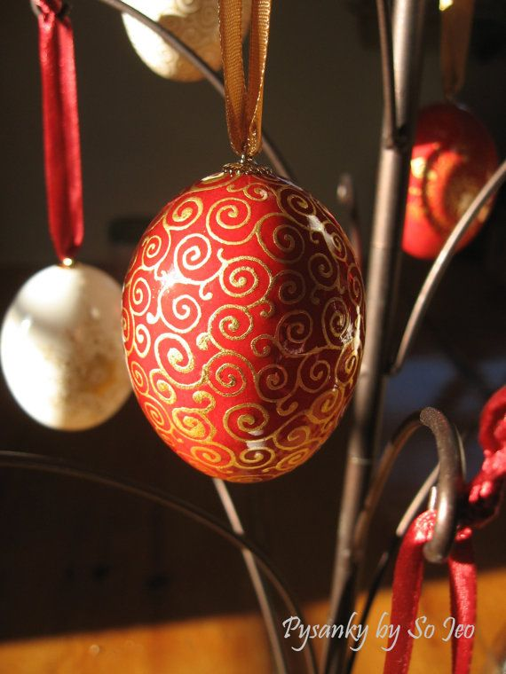 Made To Order Red and White Gilded Pysanky by PysankyBySoJeo, $75.00