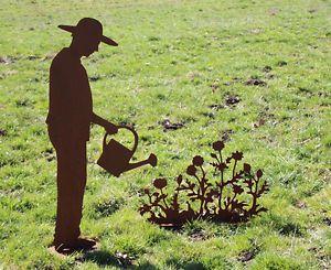 gärtner gerhard mit gießkanne 125cm rost edelrost metall rostfigur, Garten und bauen
