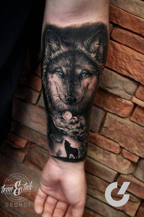 e3ba24cf50e64 Black and grey style wolf tattoo on the left inner forearm. Tattoo artist:  Georgi Kodzhabashev