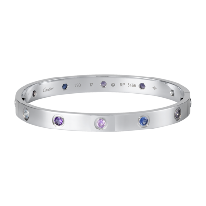 08d8fbc9106db Cartier Love Bracelet in White Gold with Colored Stones | Gems ...