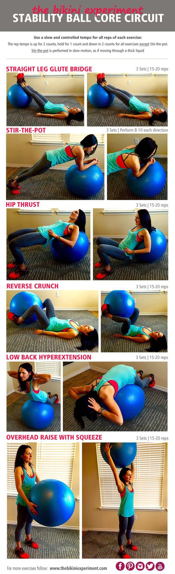 Core Stability Ball Circuit | Best Workouts for Women | Træning, Øvelser, Sundhed og træning