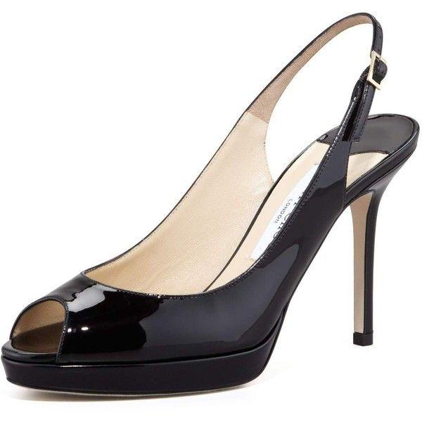 aecbfeaa307 Jimmy Choo Nova Peep-Toe Patent Slingback ( 695) ❤ liked on Polyvore  featuring shoes