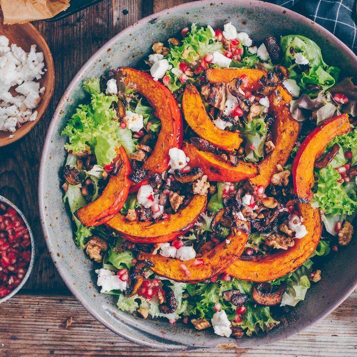 Herbst-Salat mit geröstetem Kürbis #herbstgerichte