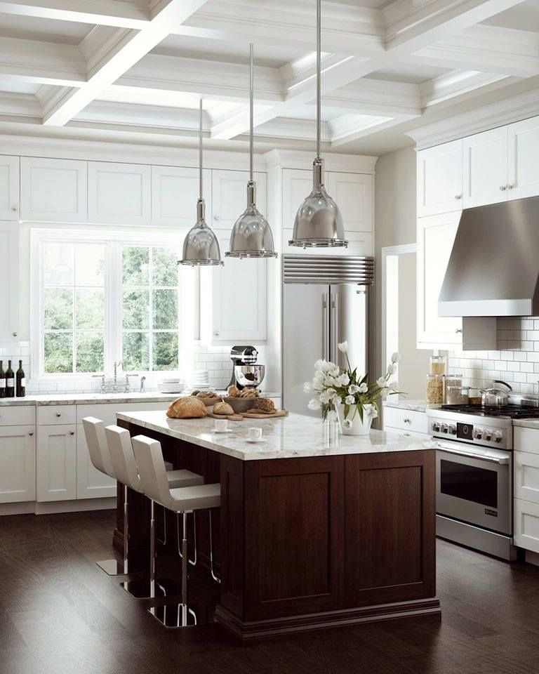 White Kitchen Counter: This Kitchen Used Beautiful Dark Wood Floors And Island