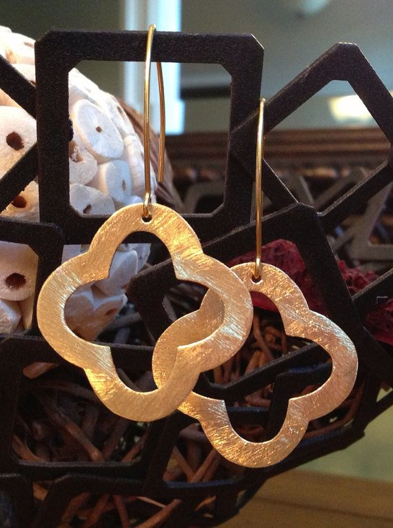 Gold Open Quatrefoil Earrings by ShellyBrennanDesigns on Etsy, $25.00 - want these!