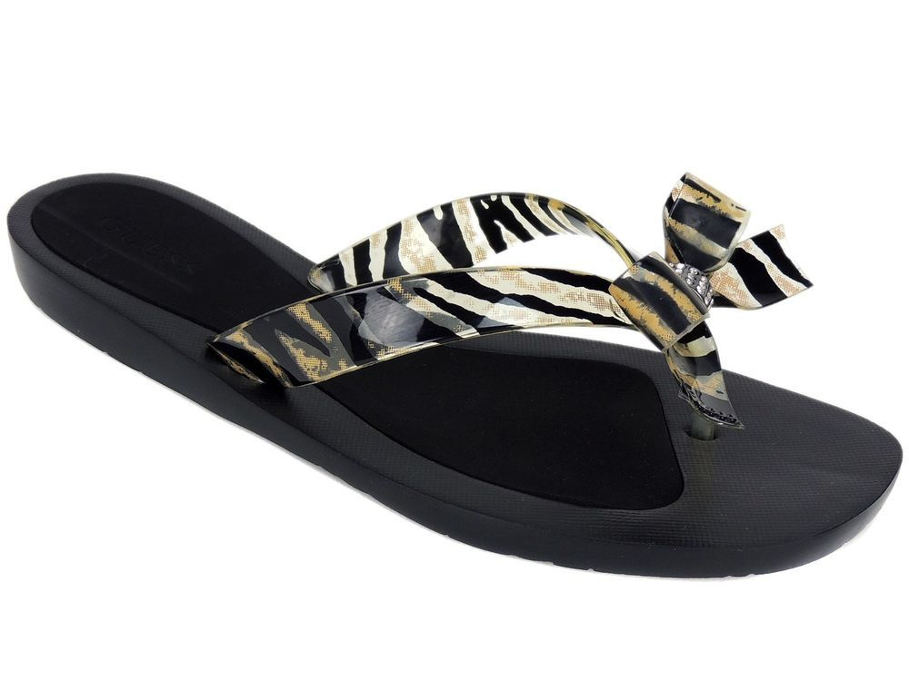 eb6fb8b738f939 Guess Women s Tutu Bow Flip Flops Brown Multi Tiger Print Thong Sandals Sz  10 M  GUESS  FlipFlops  CasualNightOut