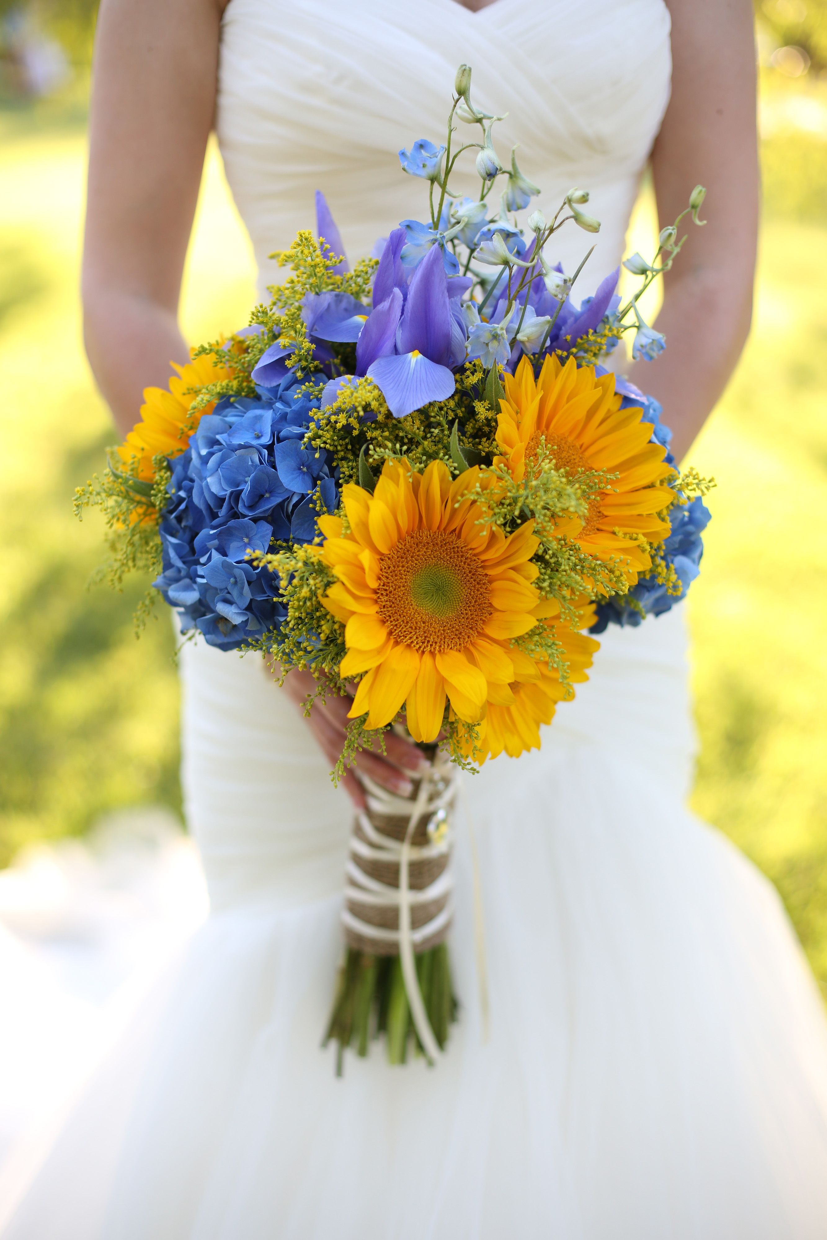 Sunflower Bridal Bouquet at Willow Creek Ranch in San