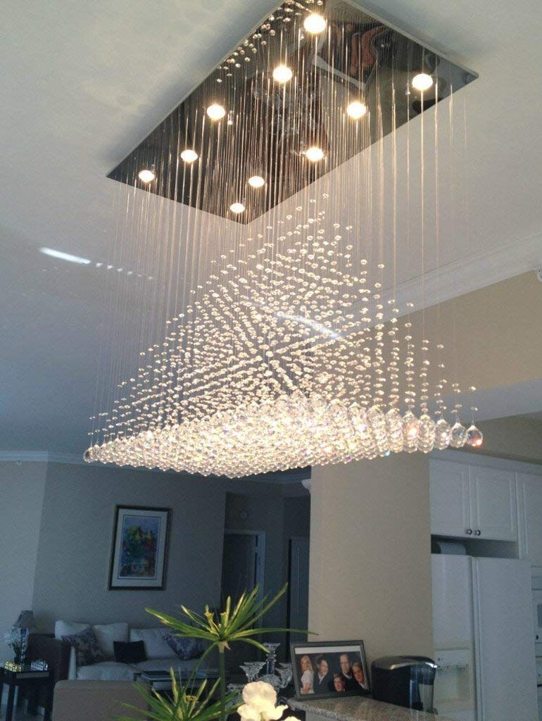 Siljoy Modern Rain Drop Crystal Chandeliers Dining Room Ceiling Lights Over Table L100 X Modern Lighting Chandeliers Crystal Ceiling Light Dining Room Lighting