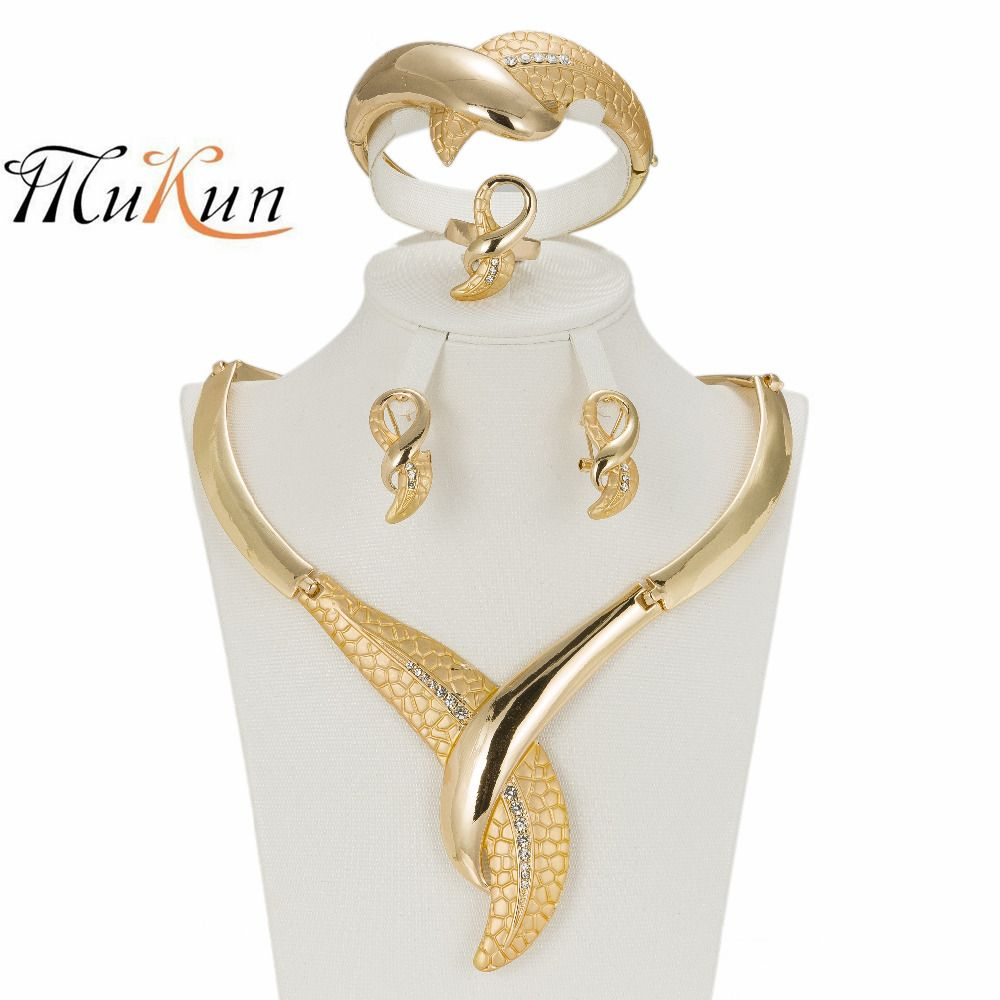African Costume Jewelry Sets Gold Plated Fashion Necklace Earrings
