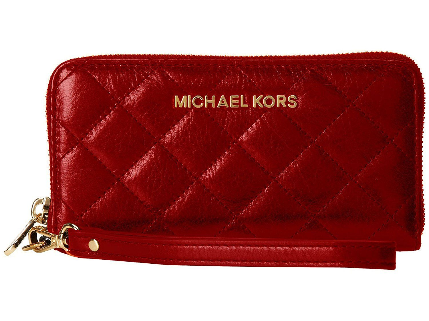 02144d16a183 MICHAEL Michael Kors Susannah Large Coin Multifunctional Phone Case  Wristlet, Dark Red * Want to know more, click on the image.
