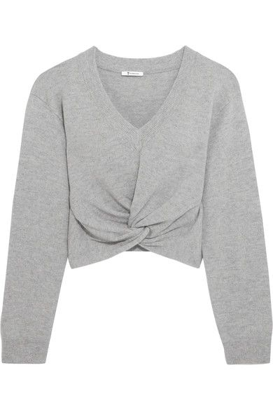 T by Alexander Wang - Twist-front Wool And Cashmere-blend Sweater - Light  gray