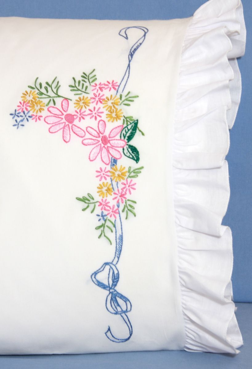 Fairway Stamped #embroidery RIBBON & FLOWERS #pillowcases